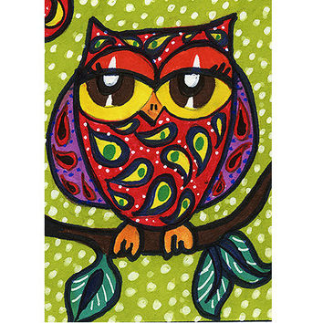 Owl Decor, Nursery Art Print, Funny Owl Print, Girls Room Decor, Kids Wall Art, Childrens Room Art,Bird Print, Paisley Owl by Paula DiLeo