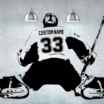 Hockey Goalie player Wall art Decal sticker personalized Name number home decor Wall Stickers For Kids Room Boy Bedroom A184