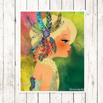 Boho Girl Art print Wall Art Print Hippie Blonde Girl Decor Girl's Room Wall Art Teens Art  Illustrations for Teens Room Decor Art for Girls