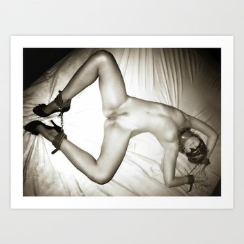 Gallery quality Giclée art print - Dirty fetish posing, black and white photography