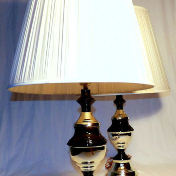 Black Brass Table Lamps Pair Vintage Stripe Lamp with Shade Hand Painted End Table Lighting Bedside Nightstand Pair of Lamps Modern 3-way