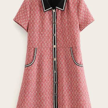 Contrast Collar Metal Button Tweed Dress