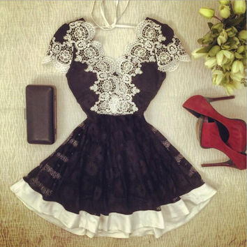 Lace stitching Backless dress-1
