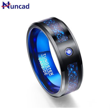 Nuncad free 2.3MM thick Fashion Men's blue tungsten steel ring inlaid black dragon for Wedding Jewelry Gift T048R