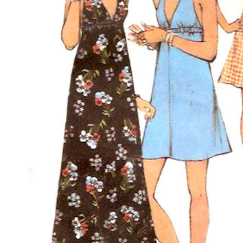 70s Halter dress retro Summer style vintage sewing pattern Style  4134 Size 10