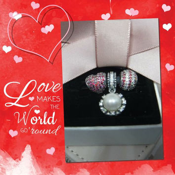 Pandora Charms Authentic Red Hearts and Pearl Three Charms Gift Set Christmas Gift