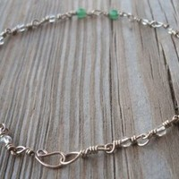 Aventurine Handmade Silver Wire Anklet Aventurine Beads 4mm Glass Clear Seed Beads Alpaca Non Tarnish Silver Wire 24cm Long Handmade,brand New