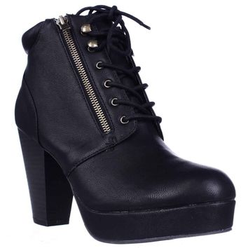 MG35 Rheta Platform Ankle Boots, Black, 7.5 US
