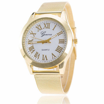 Womens Girls Classic Casual Sports Watches Girl Gold Alloy Strap Watch Best Christmas Gift 400