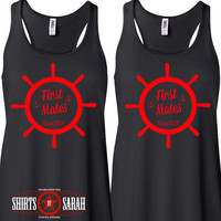 Women's Personalized Best Friends Mates Ship Wheel Tanks - Besties Tank Tops Nautical First Mates BFF Friend Shirts