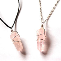 Wire Wrapped Rose Quartz Necklace