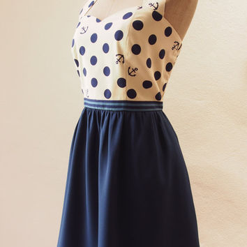 Ready to Ship - Cute 50's Retro Nautical Dress, Vintage Inspired Dress, Polka dots Navy Dress, Navy Summer Dress, Navy Dress, Size S