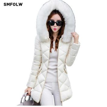 Womens Winter Jackets And Coats 2017 Women's Parkas Thick Warm Faux Fur Collar Hooded Anorak Ladies Jacket Female Manteau Femme