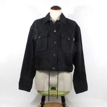 Emanuel Ungaro Jacket Vintage 1990s Light Black Denim  Women's size 6 / 40