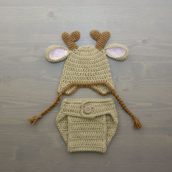Crochet Deer Costume, Crochet Deer Set, Diaper Cover Set, Crochet Baby Hat, Newborn Photography Prop, Photo Prop, Baby Deer Costume, Antlers