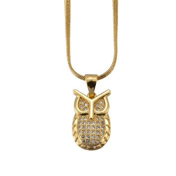 Nynelsong Handsome hip-hop owl necklace pendant, unisex. Trend pendants.
