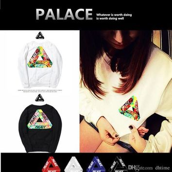 PALACE ONE WAVE RASTA TEE COLORED TRIANGLE Color Triangle Logo Cotton Plus Cashmere Sweater Men Women Hip Hop Sweatshirt White Hombre