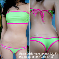 Custom women Swimwear made to measure. Bandeau large top 20cm & kicsi bikini slip - VERONICA
