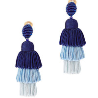 Oscar De La Renta Tiered Tassel Silk Earrings - INTERMIX®