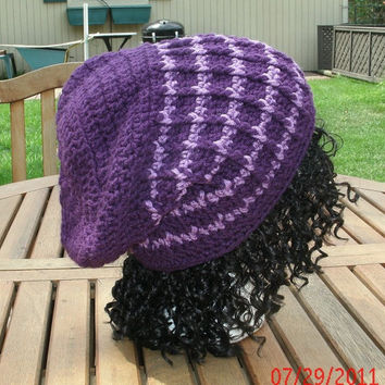 Hand Crocheted Hat - The Stovepipe in purple - crochet unisex hat - fall, winter  accessories