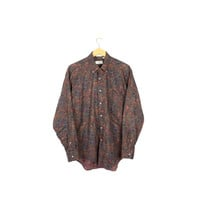90s paisley pattern oxford shirt - vintage 1990s - fine cotton - long sleeve button down - floral print - mens medium
