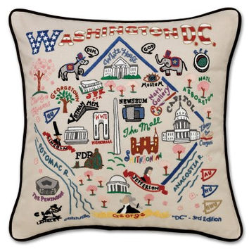 Washington D.C. Hand Embroidered Pillow