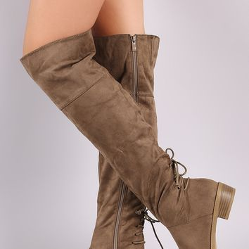 Back Lace-Up Round Toe Riding Otk Suede Boots