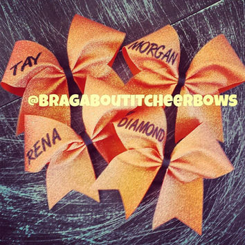 holo orange cheer bow with your name or phrase up to 3 words