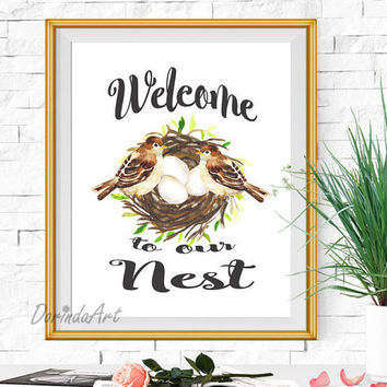 Welcome to our Nest print Home gifts New house warming gift Watercolor Birds print Brown Home decor printable 5x7 8x10 11x14 16x20 DOWNLOAD