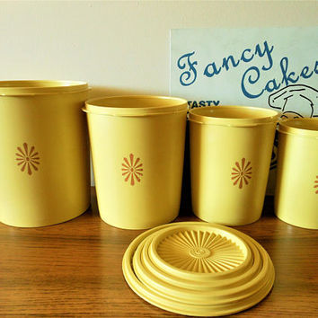 Four Vintage Yellow Tupperware Canisters, Tupperware Sunburst Canister Set with Lids