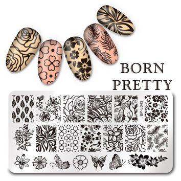 BORN PRETTY 12*6cm Rectangle Nail Stamping Template Flower Butterfly Design Image Plate L043