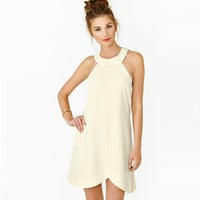 White Halter Neck Pleated Sleeveless Dress