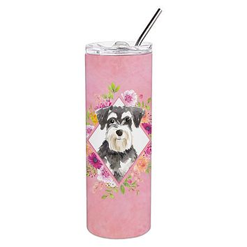 Schnauzer #2 Pink Flowers Double Walled Stainless Steel 20 oz Skinny Tumbler CK4222TBL20