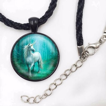 Mist White Unicorn Horse Necklace Silver Vintage Horse Art Pendant