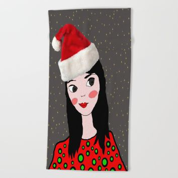 Christmas with you | Kids Painting | Only Love by Elisavet Beach Towel by Azima