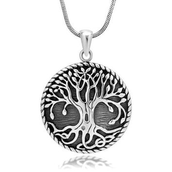 925 Sterling Silver Yggdrasil Norse Tree of Life Viking Jewelry Pendant