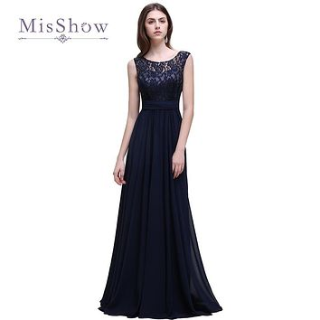 Cheap Navy Blue Lace Sleeveless Long Bridesmaid Dresses 2017 Elegant A Line Wedding Party Dress Maid of Honor Gowns