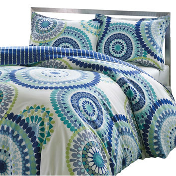 Full / Queen Size Blue Yellow Perfect Circles 3 Piece Comforter Set