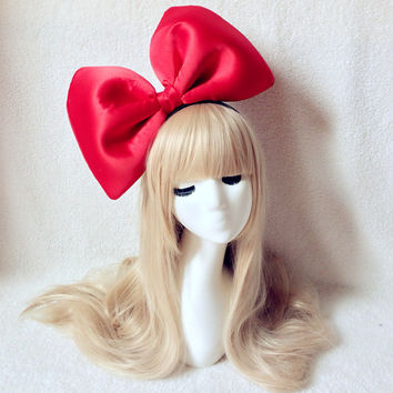 Oversized Super Giant Big Red Bow Headband, Biggest bow hairband, Great for Party Modeling Photo Props, Kiki Costume