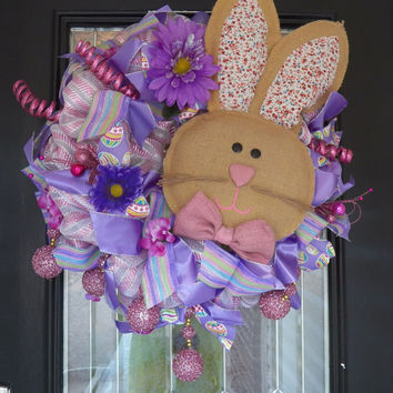 Deluxe Easter Wreath with Burlap Bunny, Easter Decoration, Spring Wreath, Ready to Ship