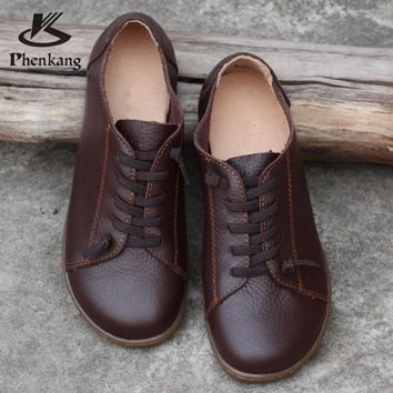 2018 imter Women cow leather casual barefoot shoes Lace up Ladies coco brown Flats Woman Moccasins Female Footwear shoes