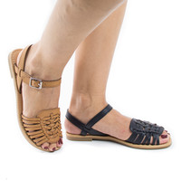 Milene Tan Pu by Soda, Huarache Sling Back Open Toe Flat Sandals