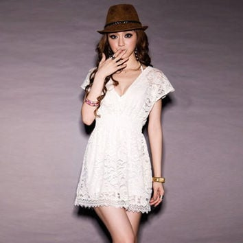 White Elastic Waist Lace Dress