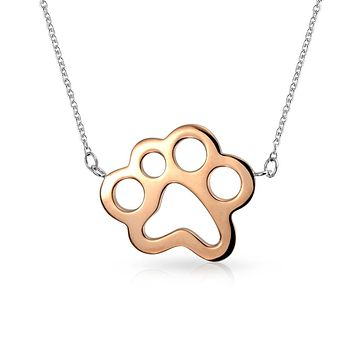 Dog Cat Puppy Paw Print BFF Pet Pendant Necklace Rose Gold Plated