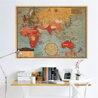 Vintage Retro Paper World Map Poster Wall Sticker Living Room Bedroom Office Cafe Restaurant Wall Decals Home Decor Map Of World