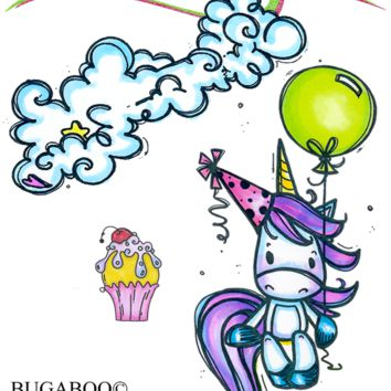 New Unicorn Party Rubber Stamp Set [00-907P7]
