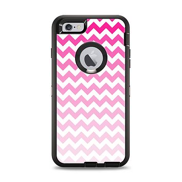 The Pink & White Ombre Chevron Pattern Apple iPhone 6 Plus Otterbox Defender Case Skin Set