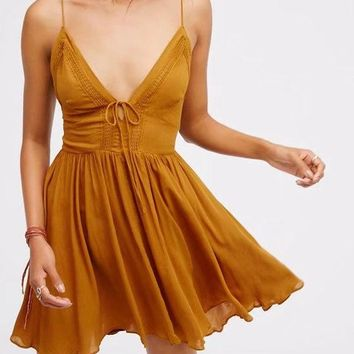 Sexy Fashion Ginger Plunge V-neck Lace Up Back Spaghetti Strap Mini Trending Dress G