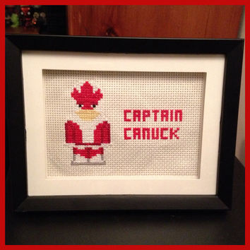Captain Canuck Cross Stitch Picture Framed by K8BitHero on Etsy