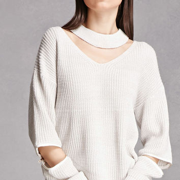 Zippered Choker Neck Sweater